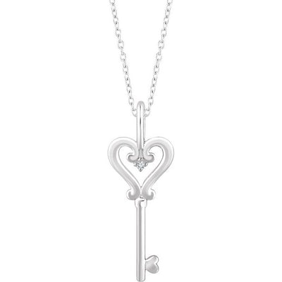 "Sterling Silver .006 CT Diamond Key 16-18"" Necklace - TreasureFineJeweler"