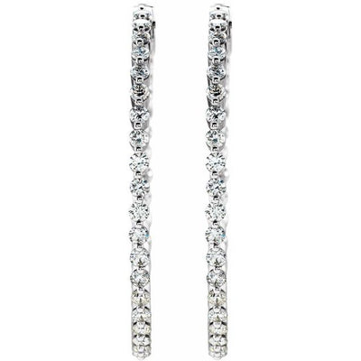 14K White 1 CTW Diamond Inside-Outside Hinged 32.5 mm Hoop Earrings