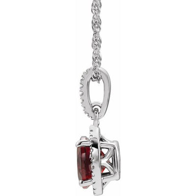 "Sterling Silver Mozambique Garnet and .01 CTW Diamond 18"" Necklace"