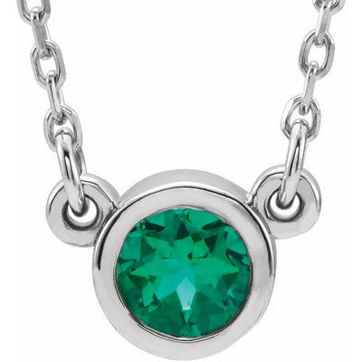 "Sterling Silver 4 mm Round Imitation Emerald Bezel-Set Solitaire 16"" Necklace"