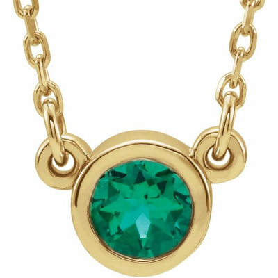 "14K Yellow 4 mm Round Chatham® Lab-Created Emerald Bezel-Set Solitaire 16"" Necklace"