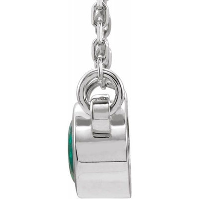 "Sterling Silver 3 mm Round Chatham® Lab-Created Emerald Bezel-Set Solitaire 16"" Necklace"