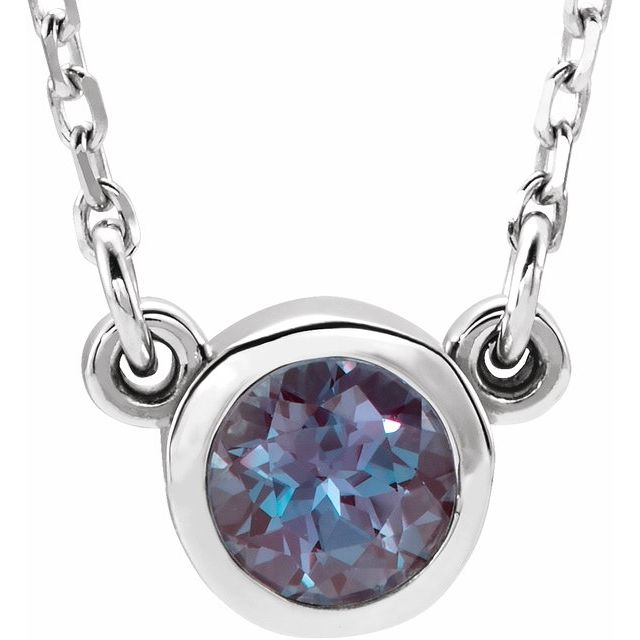 "Sterling Silver 3 mm Round Chatham® Lab-Created Alexandrite Bezel-Set Solitaire 16"" Necklace"