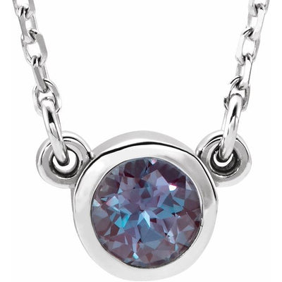 "Sterling Silver 4 mm Round Imitation Alexandrite Bezel-Set Solitaire 16"" Necklace"