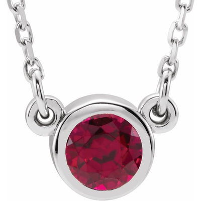 "Sterling Silver 4 mm Round Imitation Ruby Bezel-Set Solitaire 16"" Necklace"