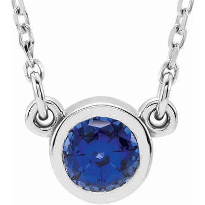 "14K White 4 mm Round Chatham® Lab-Created Blue Sapphire Bezel-Set Solitaire 16"" Necklace"