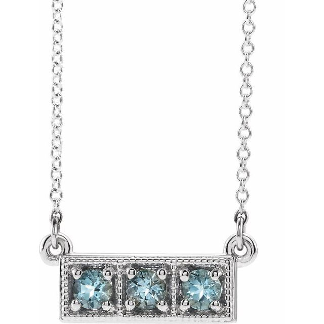"Sterling Silver Aquamarine Three-Stone Granulated Bar 16-18"" Necklace"
