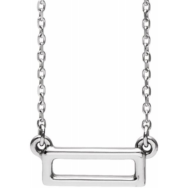 "Sterling Silver Rectangle Bar 16-18"" Necklace"