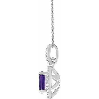 "Sterling Silver Amethyst & .01 CTW Diamond 18"" Necklace"