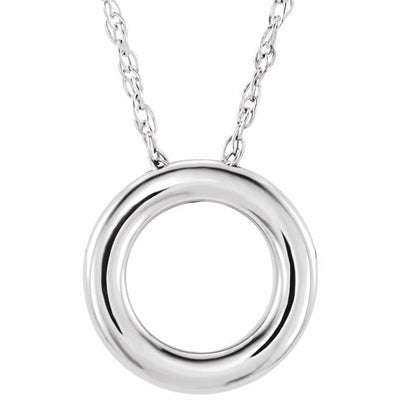 "14K White 13 mm Circle 18"" Necklace"