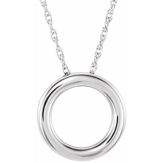 "14K White 15 mm Circle 18"" Necklace"