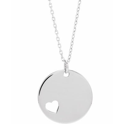 "14K White Pierced Heart Engravable Disc 16-18"" Necklace"