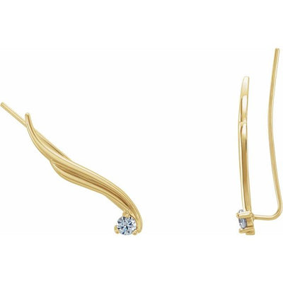 14K Yellow 1/5 CTW Diamond Ear Climbers