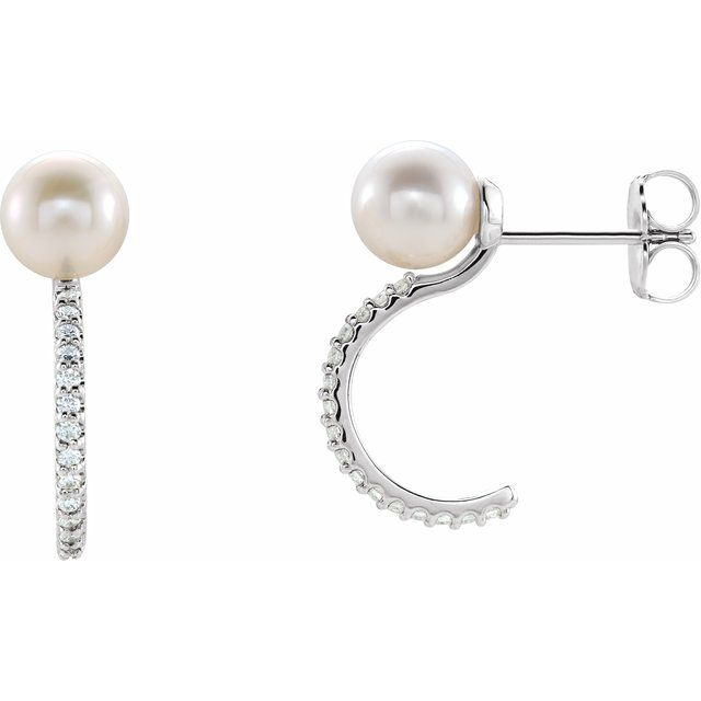 14K White Freshwater Cultured Pearl & 1/6 CTW Diamond Hoop Earrings