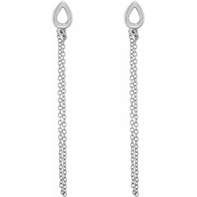 14K White Leaf Chain Earrings