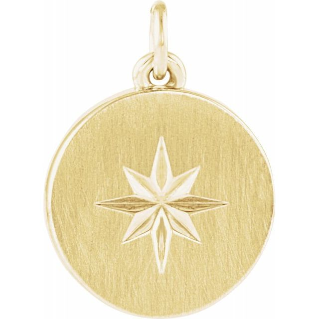 14K Yellow Starburst Disc Pendant