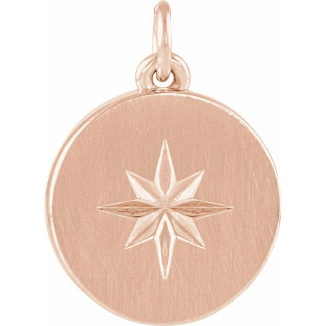 14K Rose Starburst Disc Pendant