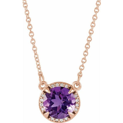 "14K Rose 7 mm Round Amethyst and .04 CTW Diamond 16"" Necklace"