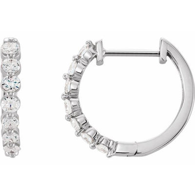 14K White 1/2 CTW Diamond 15.25 mm Hoop Earrings