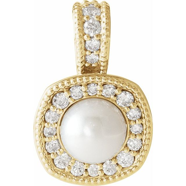 14K Yellow White Freshwater Cultured Pearl & 1/4 CTW Diamond Pendant