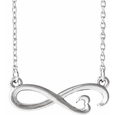 "Sterling Silver Infinity-Inspired Heart 16-18"" Necklace"