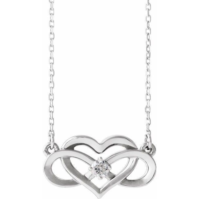"Sterling Silver 1/10 CTW Diamond Infinity-Inspired Heart 16-18"" Necklace"
