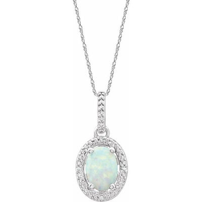 "Sterling Silver Lab-Grown Opal & .01 CTW Diamond 18"" Necklace"