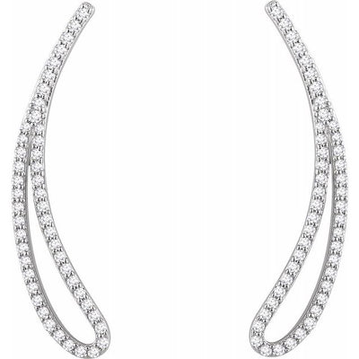 14K White 1/4 CTW Diamond Ear Climbers