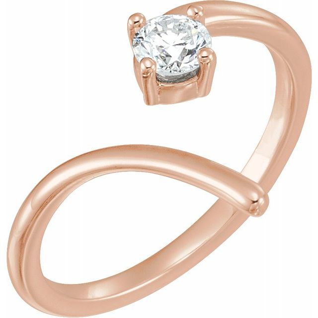 14K Rose 1/4 CTW Diamond Negative Space Ring