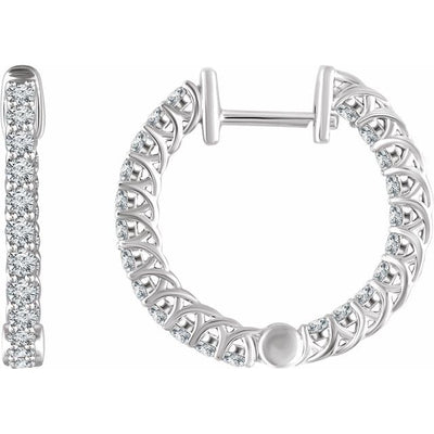 14K White 1 CTW Diamond Inside/Outside 20.1 mm Hoop Earrings