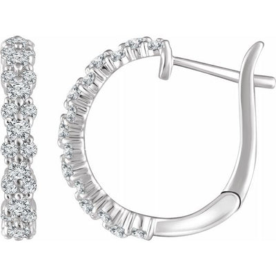 14K White 5/8 CTW Diamond Hoop Earrings