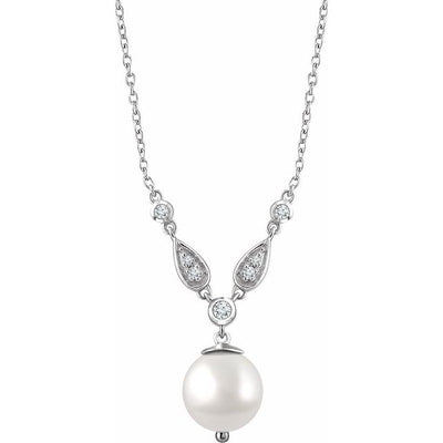 "14K White Freshwater Cultured Pearl & 1/6 CTW Diamond 16-18"" Necklace"