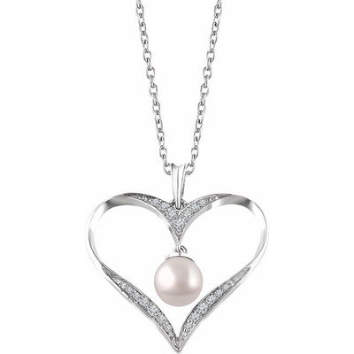 "Sterling Silver Freshwater Cultured Pearl & 1/6 CTW Diamond 16-18"" Heart Necklace"