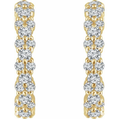 14K Yellow 5/8 CTW Diamond Hoop Earrings
