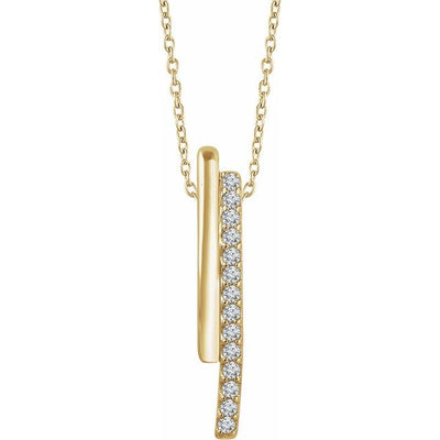 "14K Yellow 1/5 CTW Diamond 16-18"" Bar Necklace - TreasureFineJeweler"