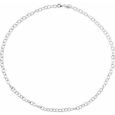 "Sterling Silver 4.45 mm Knurled Cable 18"" Chain"