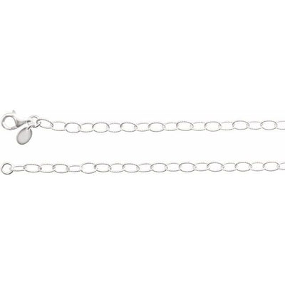 "Sterling Silver 3.5 mm Knurled Cable 24"" Chain"