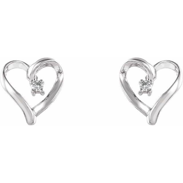 14K White .04 CTW Diamond Heart Earrings