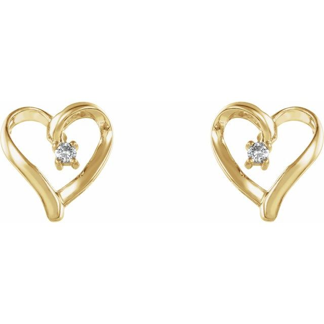 14K Yellow .04 CTW Diamond Heart Earrings