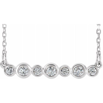 "Sterling Silver 1/5 CTW Diamond Bezel-Set Bar 16-18"" Necklace"