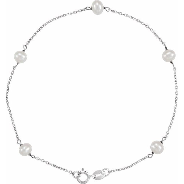 "14K White Freshwater Cultured Pearl Station 7"" Bracelet"