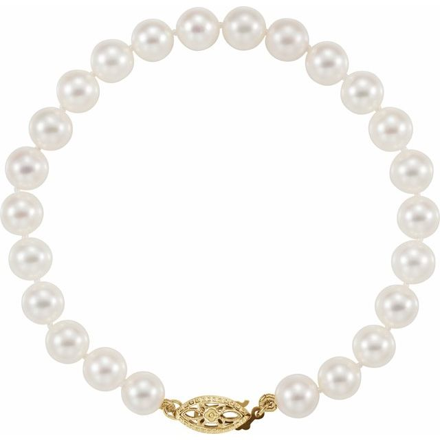 "14K Yellow 6-6.5 mm Akoya Cultured Pearl 7"" Bracelet"
