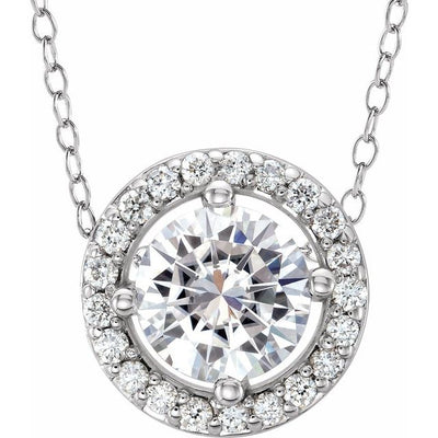 "14K White 5 mm Round Forever One™ Moissanite & .06 CTW Diamond 16-18"" Necklace"