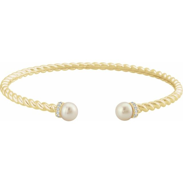 14K Yellow Freshwater Cultured Pearl & 1/10 CTW Diamond Cuff Bracelet