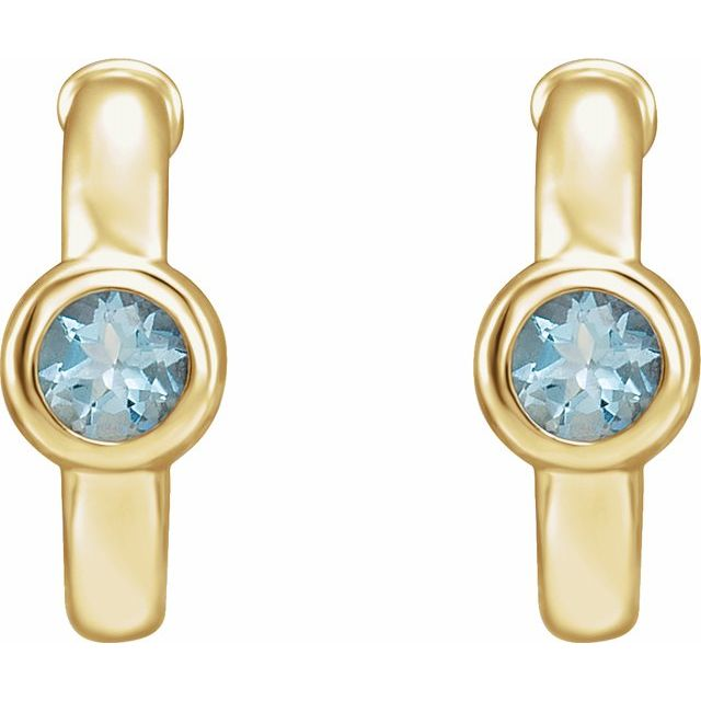 14K Yellow Aquamarine Hoop Earrings