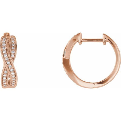 14K Rose 1/5 CTW Diamond Infinity-Inspired Hoop Earrings