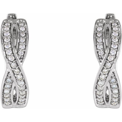 14K White 1/5 CTW Diamond Infinity-Inspired Hoop Earrings