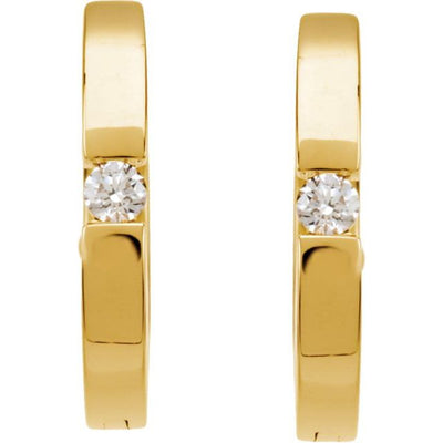 14K Yellow .07 CTW Diamond Hoop Earrings