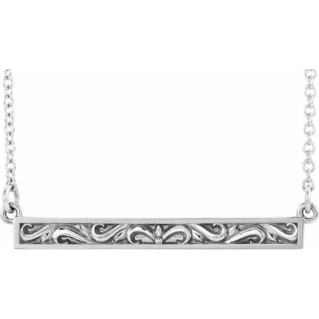 "Sterling Silver Sculptural-Inspired Bar 16-18"" Necklace"
