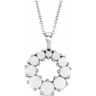 "Sterling Silver Opal Halo-Style 18"" Necklace"